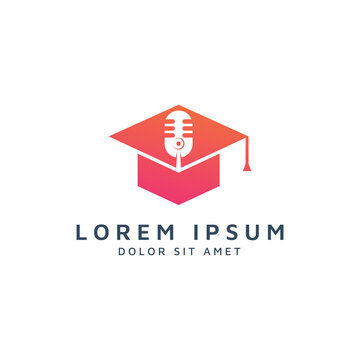 education and microphone negative space logo design