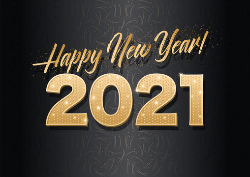Vector template. Gold glitter numbers 2021. Happy new year! Dark horizontal background with a pattern.
