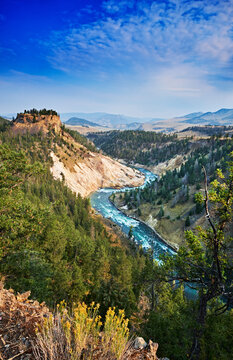 The Yellowstone River continues to carve the rocks in the Grand Canyon of the Yellowstone. Yellowstone National Park, Wyoming