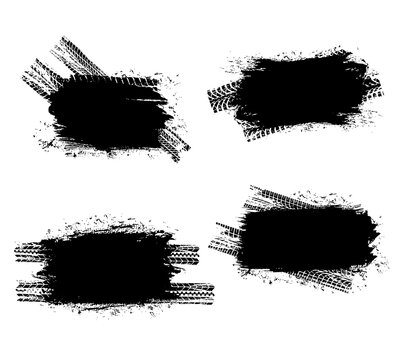 Tire prints black spots, car tyre tracks isolated grunge dirty vector marks. Offroad vehicle wheels trace with abstract dirty blobs. Monochrome brush stroke pattern, graphic texture, design elements