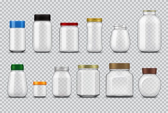 Glass jars with lids realistic mockup, vector food packages. Empty clear bottle containers and transparent pots with metal and plastic screw caps of food canning and storage design 3d template set