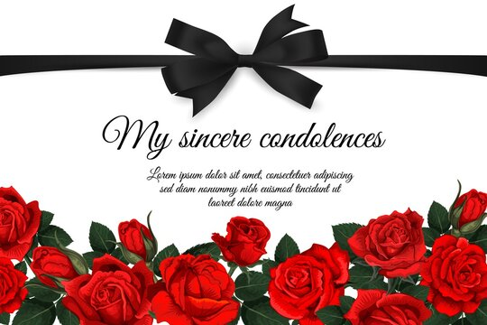 Funereal card with mourning ribbon and roses. Obituary poster, condolence card with black ribbon bow, red rose flowers, buds and leaves engraved vector. Memorial plaque or funeral plate