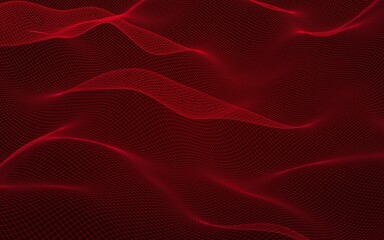 Abstract landscape on a red background. Cyberspace grid. hi tech network. 3D illustration