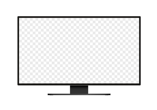 Flat design illustration of monitor for computer or television. Black frame with blank white screen for adding text or image. Isolated on white background, vector