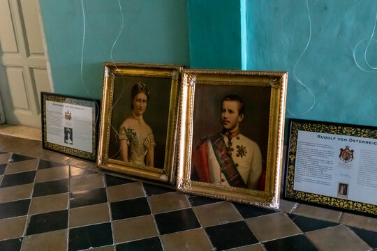 Portraits of Stephanie of Austria and Rudolf of Austria in the Austrian Hospice in the old city of Jerusalem in Israel