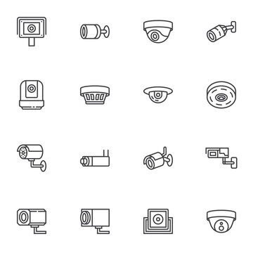 Security camera line icons set, outline vector symbol collection, linear style pictogram pack. Signs, logo illustration. Set includes icons as CCtv camera, dome surveillance, webcam