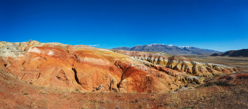 """Martian landscape"" in the Kyzyl-Chin tract, Chui steppe, Gorny Altai, panorama. Russia"