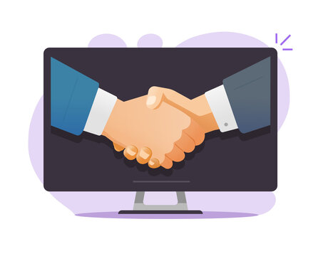 Internet partnership deal vector concept, idea of online contract or business man agreement, digital success meeting, negotiations welcome handshake or shaking hands on computer screen