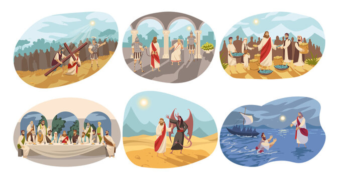 Religion, christianity, Bible set concept. Biblical religious New Testament series of Jesus Christ son of God crucifixion devil temptation trial of Pilate Last Supper. Life of Messiah illustration.