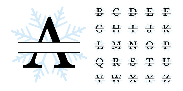 Snowflake Split Monogram Alphabet, Vector Illustration