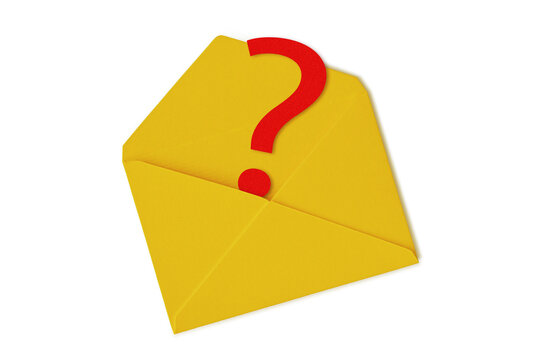 Yellow envelope with question mark on white background