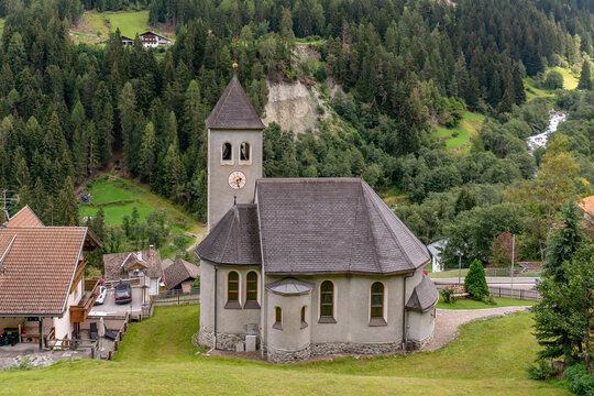 Aerial view of the catholic church of Gomagoi, South Tyrol, Italy