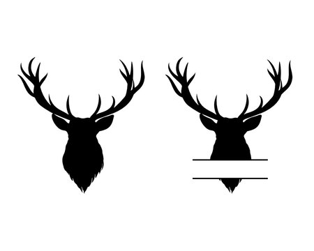 Deer Head Bundle SVG, Deer Head Name, Elk Head Monogram svg, Deer Head Split Monogram svg, Silhouette Cut File, clipart, Elk Head File-120