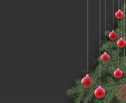 Christmas tree with red baubles.