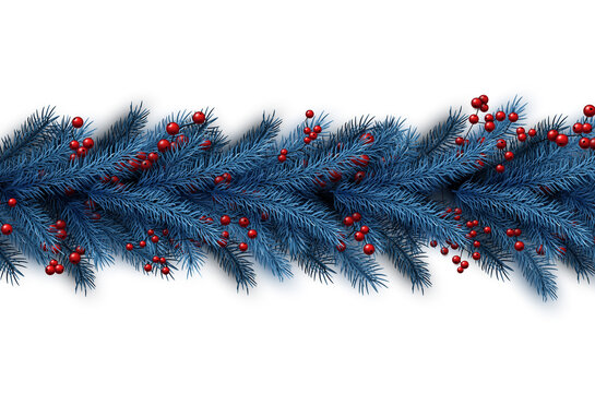 Christmas blue fir background with red berries.