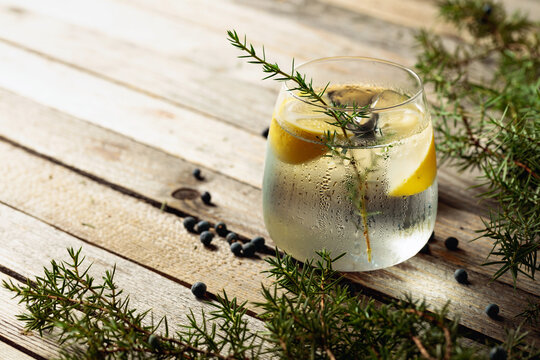 Alcohol drink (gin tonic cocktail) with lemon, juniper branch, and ice on rustic wooden table.