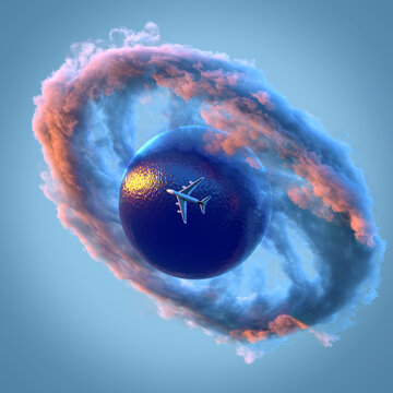 airplane flies over the ocean on a small planet