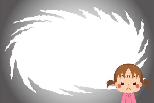 怒りを堪えつつ心中穏やかじゃない小さな女の子と物々しい漫画風背景