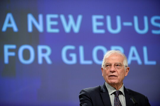 European Union foreign policy chief Josep Borell speaks during a news conference in Brussels