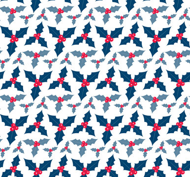 Christmas plants seamless pattern. Merry christmas repeating texture winter flowers.Tileable Holiday background. Vecto illustration