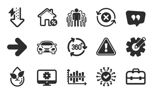 Group, Diagram chart and 360 degree icons simple set. Reject refresh, Loan house and Cogwheel signs. Security network, Organic product and Quote bubble symbols. Flat icons set. Vector