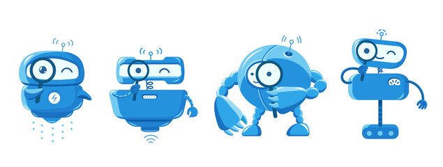 Robot search mascot and loupe. look for the information. With magnifying glass. Different types. Small blue smart character. Cartoon vector flat. - fototapety na wymiar