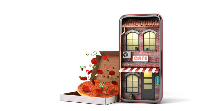 cafe in the phone screen concept of online ordering food viewing the menu from home 3d render illustration on white