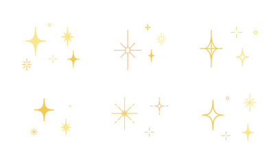 Fototapeta 星やキラキラのアイコンのセット/イラスト/光/輝き/素材/シンプル