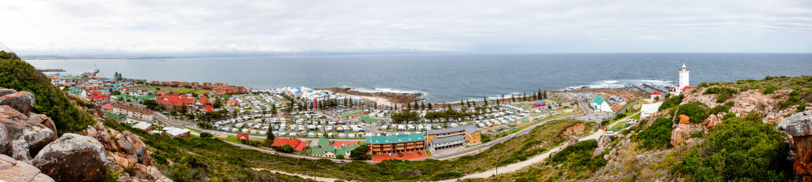 Panoramic view of Mosselbay from the Snt Blaize lighthouse overlooking the Mosselbay bay towards George in the Western Cape of South Africa
