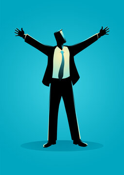 Businessman standing with open arms