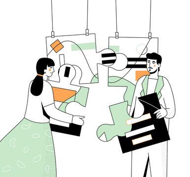 Teambuilding and partnership - modern flat design style illustration