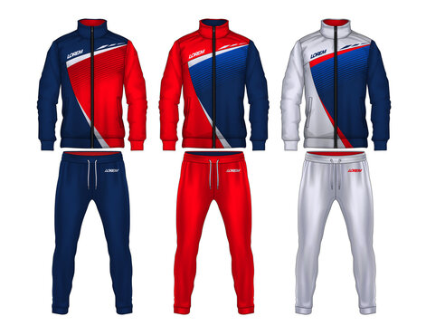 sport track suit design template,jacket and trousers vector illustration.