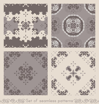 Set of seamless patterns retro, vintage. Chocolate color, cream ivory and grey. Spirals and abstract. Vector.