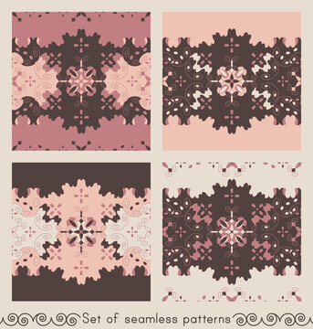 Set of seamless patterns retro, vintage. Chocolate color, pink, pastel orange and cream ivory. Spirals and abstract. Vector.