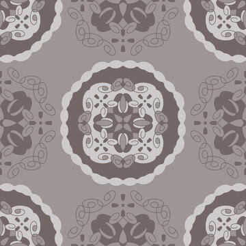 Seamless pattern retro, vintage. Chocolate color and grey. Spirals and abstract. Vector.
