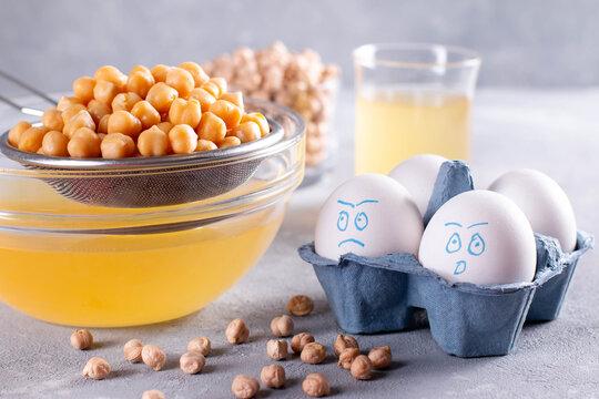 Chickpea water aquafaba. Vegan concept. Egg replacement.