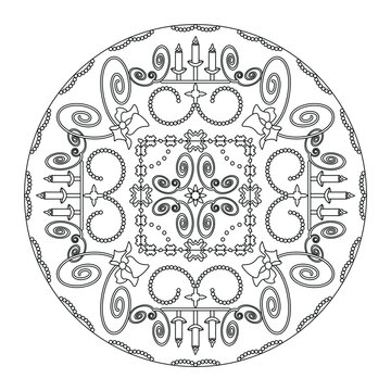 Christmas coloring page. Mandala with candle holders and spirals. Art Therapy. Black and white. Vector illustration.