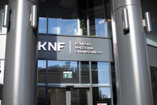 Warszawa, Polska - marzec 5, 2019: Budynek KNF - Komisji Nadzoru Finansowego