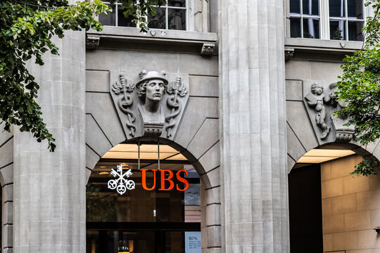 ZURICH/SWITZERLAND - AUGUST 13, 2019: View on UBS bank logotype on the wall of old building