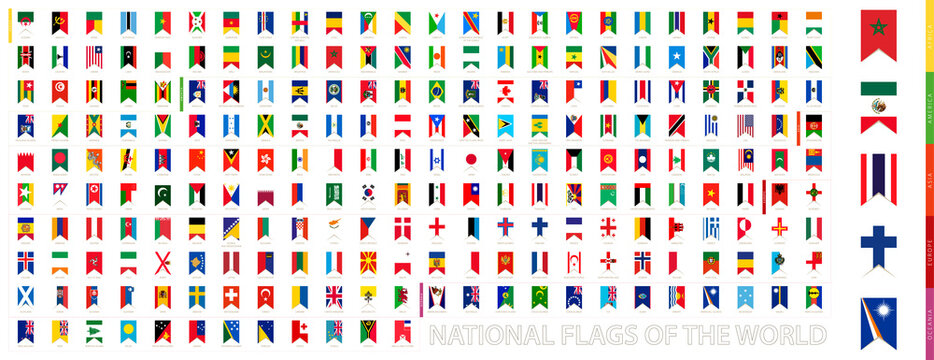 Vertical flag collection of the World sorted by continent.