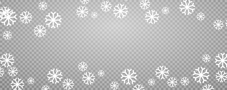 Snowflake border vector Christmas background. Snow frame isolated on transparent.