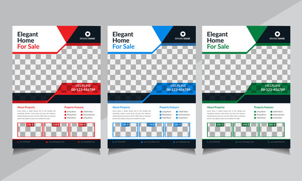 Real Estate Flyer, Business Flyer, Creative Real Estate Flyer Template, red, green, blue