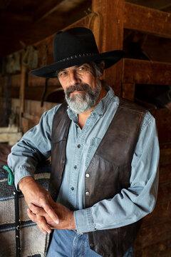 Portrait confident handsome senior male rancher in horse barn