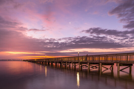 Indian Riverside Park Fishing Pier at Sunrise