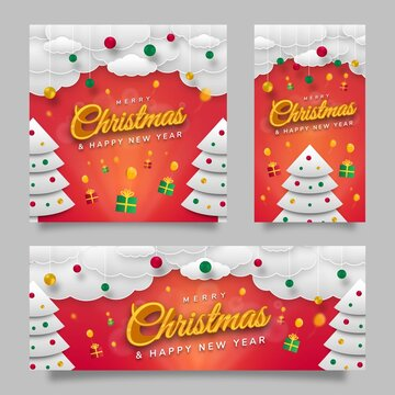 Merry Christmas Social Media Template Flyer with Red Gradient Background
