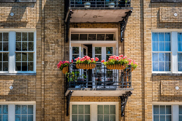 Fototapeta Savannah, Georgia apartment building window balcony open doors during sunny day in summer with old historic brick architecture and flowers in garden obraz