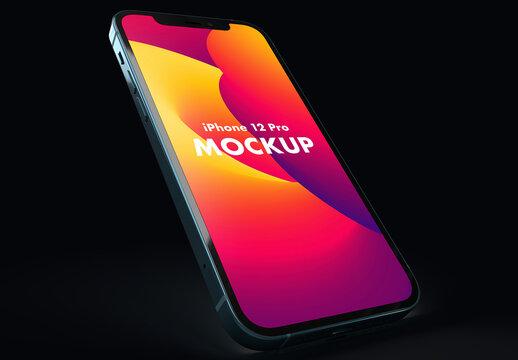 Smartphone with Dark Mode and Dark Background Mockup