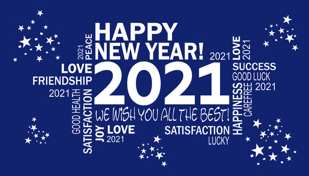 happy new year 2021 -we wish you all the best - blue card