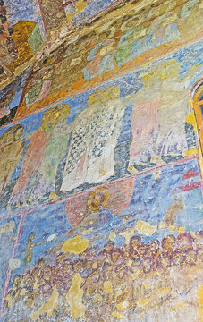 The frescoes in Dormition cave church, on May 27, 2016 in Vardzia, Georgia