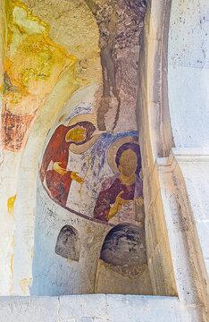 The fresco in the semi-dome of Dormition cave church, on May 27, 2016 in Vardzia, Georgia